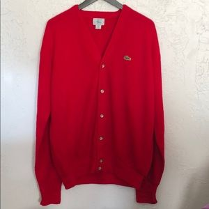 Vtg IZOD Lacoste Red Knit Cardigan Sweater Mens XL